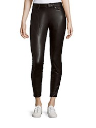 Hue Fitted Leatherette Leggings Black