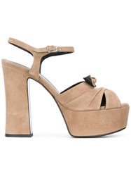 Saint Laurent Candy 80 Bow Sandals Nude Neutrals