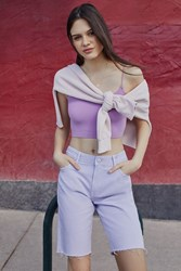 Urban Outfitters Uo Frayed Bermuda Short Lavender