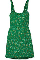 Faithfull The Brand Esther Ruffle Trimmed Floral Print Crepe Mini Dress Green