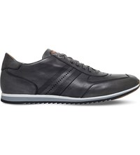 Magnanni Perforated Stripe Leather Trainers Grey