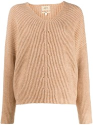 Bellerose V Neck Knitted Jumper Brown