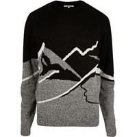 Bellfield River Island Mens Black Mountain Christmas Jumper