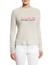 Zadig And Voltaire Delly Amour Cashmere Pullover Sweater Beige Neige Intarsia Mu