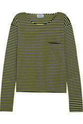 Prada Striped Cotton Jersey Top Lime Green