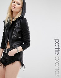 Noisy May Petite Hooded Faux Leather And Jersey Biker Jacket Black