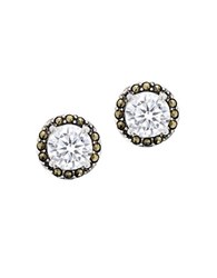 Lord And Taylor Marcasite Sterling Silver Bezel Stud Earrings