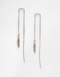 Selected Femme Feather Through And Through Earrings Antiquesilver