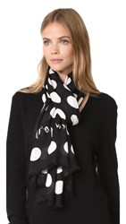 Kate Spade New York Grid Dot Oblong Scarf Black