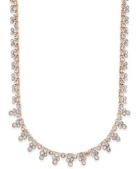 Charter Club Rose Gold Tone Crystal Cluster Strand Necklace Only At Macy's