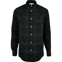 River Island Mens Green Casual Flannel Check Shirt