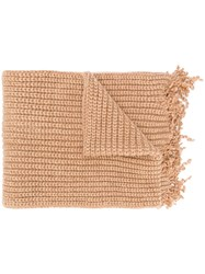 Marni Distressed Cable Knit Scarf Neutrals