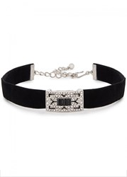 Kenneth Jay Lane Swarovski Crystal Embellished Silver Tone Choker Black
