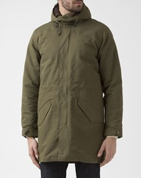 Levi's Khaki Military Parka With Sherpa Removable Lining