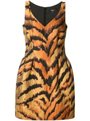 Paule Ka Tiger Print Fitted Dress Yellow Orange