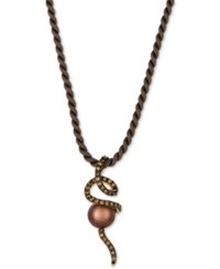 Le Vian Chocolatier Cultured Tahitian Brown Pearl 9 1 2Mm And Diamond 3 4 Ct. T.W. Silk Cord Pendant Necklace In 14K Gold