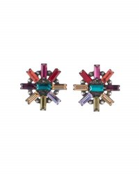 Dannijo Baguette Crystal Statement Earrings Multi