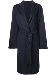 Luisa Cerano Belted Single Breasted Coat Blue