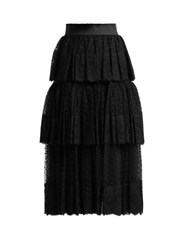 Dolce And Gabbana Tiered Tulle And Lace Midi Skirt Black