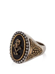 Alexander Mcqueen Skull And Cross Bone Brass Ring Silver Multi