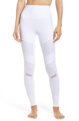 Alo Yoga Women's High Waist Moto Leggings White White Glossy