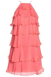 Bailey 44 Tiered Silk Georgette Mini Dress Coral