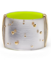 Alexis Bittar Lucite Studded Wide Hinge Bangle Bloomingdale's Exclusive Silver Yellow Inside