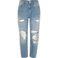 River Island Womens Petite Light Blue Ripped Mom Jeans