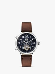 Ingersoll I09503 'S The Muse Automatic Chronograph Heartbeat Leather Strap Watch Brown Navy