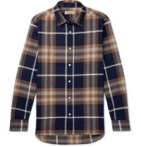 Burberry Checked Cotton Flannel Shirt Navy