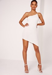 Missguided Asymmetric One Shoulder Bodycon Dress White White