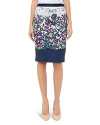 Ted Baker Entangled Enchantment Pencil Skirt Dark Blue