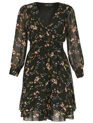 Pussycat Floral Print Long Sleeve Dress Black