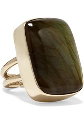 Anndra Neen Claribel Gold Plated Labradorite Ring Gold Green