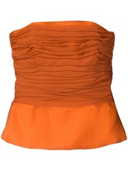 Yves Saint Laurent Vintage Ruched Bustier Yellow And Orange