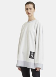 Y 3 Textured Oversized Crew Neck Sweater Grey