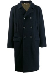 Massimo Alba Double Breasted Midi Coat Blue
