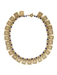 Etro Floral Embossed Necklace Gold Blue