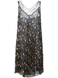 P.A.R.O.S.H. Pleated Floral Print Dress Black