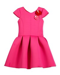 Zoe Cap Sleeve Neoprene Pleated Party Dress Hot Pink Size 4 6 Girl's Size 6