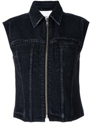 3.1 Phillip Lim Denim Zipped Waistcoat Women Cotton 0 Black