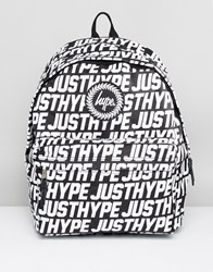 Hype Backpack In Black With Text Print Black