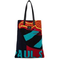 Paul Smith Ps By Navy Cheetah Flag Tote
