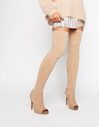 Public Desire Rhiannon Stretch Peeptoe Heeled Over The Knee Boots Taupe Stretch Beige