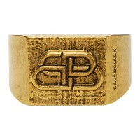 Balenciaga Gold Bb Logo Ring