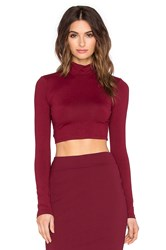 Susana Monaco Turtleneck Crop Top Maroon