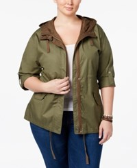 American Rag Trendy Plus Size Hooded Anorak Only At Macy's Burnt Olive