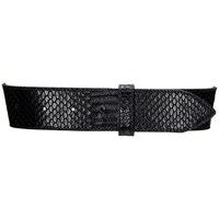 Brass Fusion Italian Leather Python Belt Black