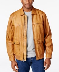 Tommy Bahama Men's Santiago Leather Aviator Jacket Cognac