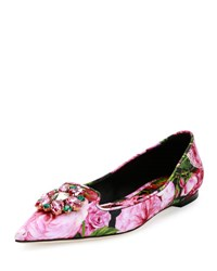 Dolce And Gabbana Rose Print Brocade Skimmer Flat
